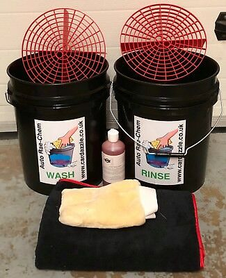 GRIT SHIELD & HEAVY DUTY 20L BUCKET - For 2 Bucket Car Wash Method BLACK