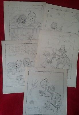 5 Pages Children's Book Vintage Rough Original Artwork KATHLEEN BOLAND STUDIO