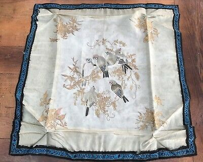victorian or edwardian silk embroidery ( birds - decorative gold thread )