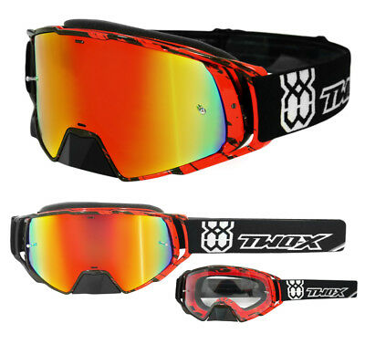 TWO-X Rocket Crossbrille Crush MX Enduro Brille rot verspiegelt iridium