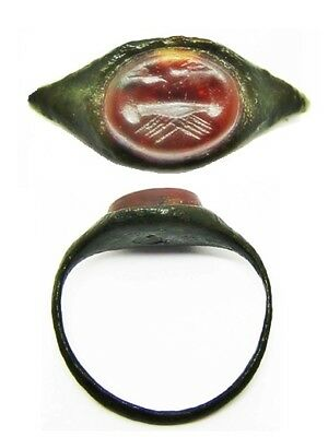 3rd century AD Ancient Roman Bronze & Carnelian Intaglio Ring Clasped Hands
