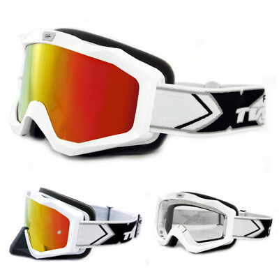 TWO-X EVO V2 Crossbrille weiss iridium verspiegelt MX Enduro Motocross Brille