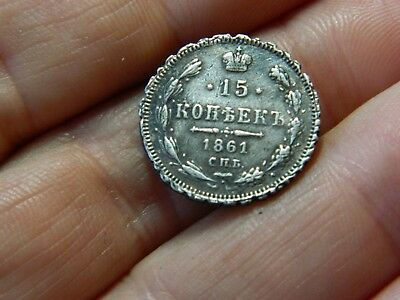Un researched Vintage silver coin dated 1861 Russian ? Metal detecting detector