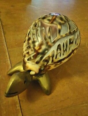Brass Bodied Turtle With A Tiger Cowrie Shell