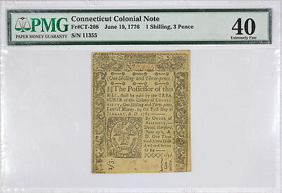 Connecticut Colonial Note, 1 Shilling, 3 Pence, PMG XF40, Fr#CT-208, Jun 19,1776