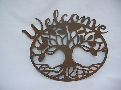 Brown Metal Tree Of Life Welcome Wall Sign Plaque