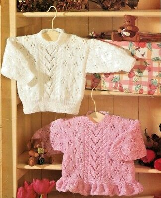 """Eyelet & Cable Sweaters Frilly Peplum 16 - 26""""  0-7 Yrs Baby DK Knitting Pattern"""