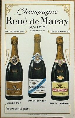 Champagne Rene de Maray, Avize 1900 Color Litho Advertising Card/Menu/Price List