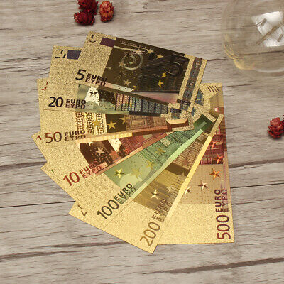 Euro Banknote Bills Bank Note Gold Foil Currency Paper Money Crafts Collection