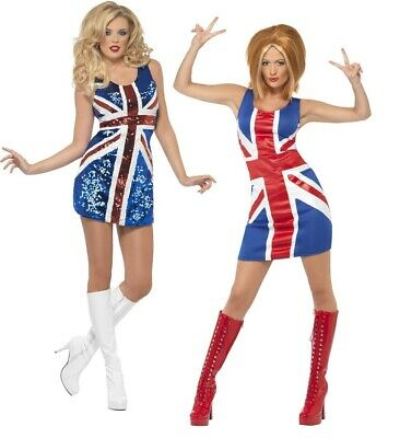 Spice Girls Fancy Dress Costume Ginger Spice Ladies Union Jack Dress