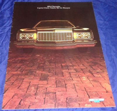 BR1786 1974 Chevrolet Chev Caprice Impala Bel Air Biscayne 454 Brochure 22pgs