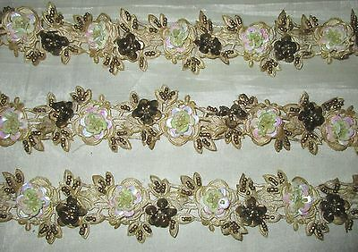 * Vintage Antique Border Sari Trim Lace  2 ft Flower Floral Cream CRAFT DECOR