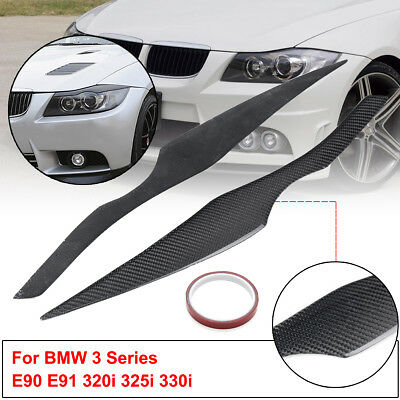 06-11 BMW 3 Series E90 Sapphire Black Headlight Eyebrow Eyelid Cover Painted