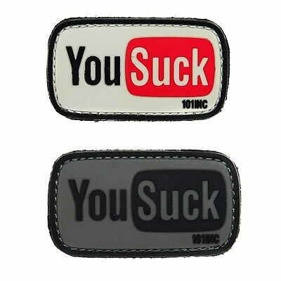 Emblem 3D PVC YOU SUCK Rubber Patch Klett Abzeichen Applikation