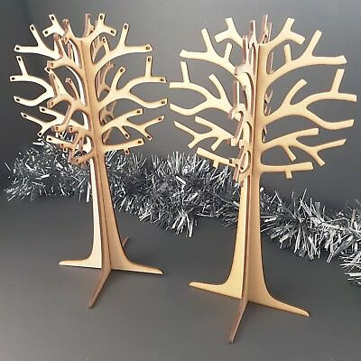 Wooden Jewellery Tree MDF Freestanding 3D Shape earing neckless ring gift craft