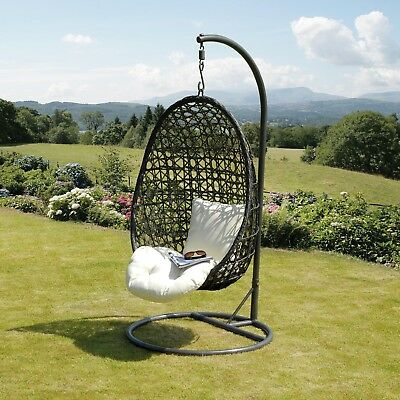 Suntime Cocoon Brown Garden Rattan Hanging Chair Swing Cream Cushion Wicker