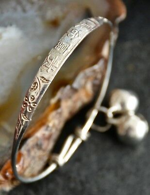 Chinese Character Childs 925 Solid Sterling Silver Adjustable Bangle with Bells