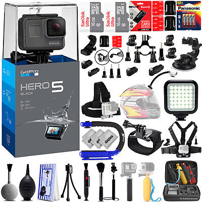 GoPro Hero 5 Black Hero5 4K Ultra HD Digital Camera w/ 40PC Sports Action Bundle