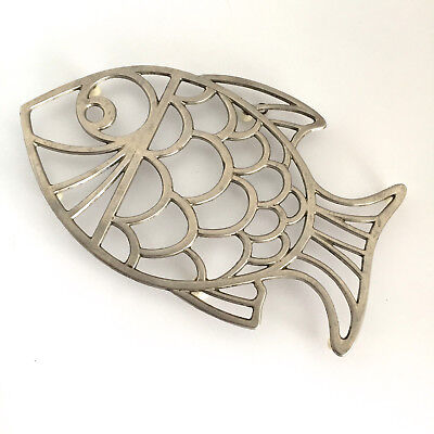 """Fish Shaped Trivet Made in Italy Leonard  Silver Plated EP Zinc   7"""" x 10 3/4"""""""