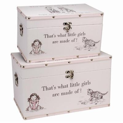 What Are Little Girls Made Of Two Large Storage Boxes Keepsake Baby Trunks  2607G