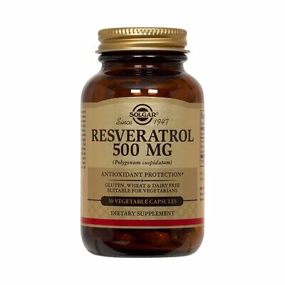 Solgar Resveratrol 500 mg 30 Vegetable Capsules FREE US SHIPPING FRESH