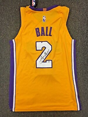 official photos a6af5 f09d3 LONZO BALL SIGNED Lakers Nike Jersey Size 48 Nba Authentic Bas Rookie Coa  Auto