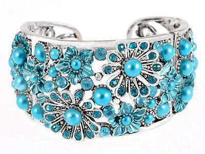 Frosted Coherer Bead Turquoise Aqua Blue Sea Flower Garden Bracelet Bangle Cuff
