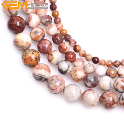 """Natural Round Yellow Crazy Lace Agate Gemstone Loose Beads Jewelry Making 15"""""""