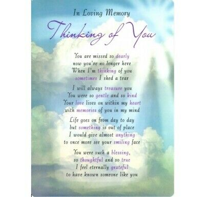 Loving Memory Thinking Of You Grave Cards Keepsakes Graveside Poem Bereavement