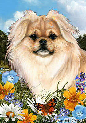 Large Indoor/Outdoor Summer Flag - Cream Tibetan Spaniel 18475