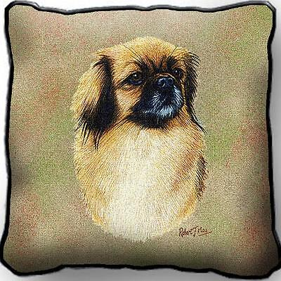"17"" x 17"" Pillow - Tibetan Spaniel by Robert May 3318"