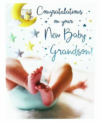 new baby boy grandson congratulations greeting card envelope seal newborn