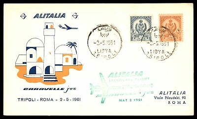 Libya 1961 Tripoli First Jet Caravelle Flight Alitalia May 2 1961 Cover To Roma