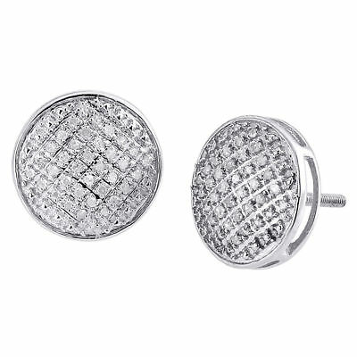 Diamond Round Earrings .925 Sterling Silver Pave Circle Design Studs 0.33 Ct.
