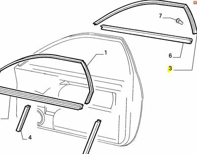 Fiat Coupe Offside / Right Hand Front Door Glass Seal / Rubber 46303926 Genuine