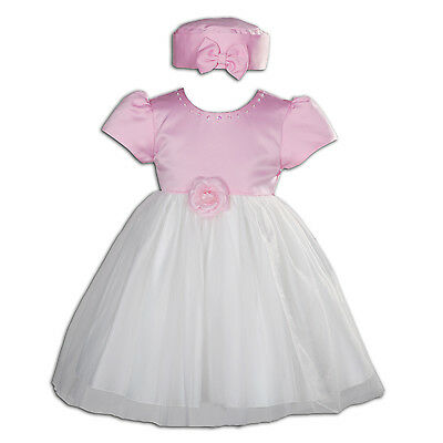 New Ivory and Pink Satin Christening Party Dress with Hat 12-18 Months
