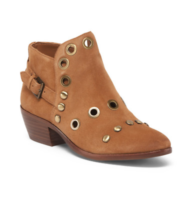 335c18af6b3c New Sam Edelman Pedra Cognac Suede Leather Ankle Booties Boots Womens 7