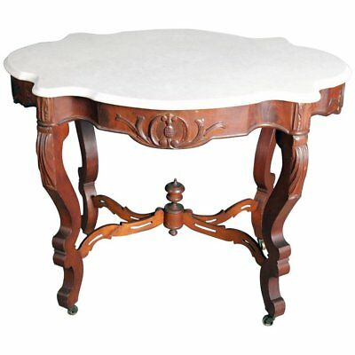 Victorian Carved Rosewood Marble-Top Centre Table, 19th Century