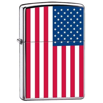 "Zippo ""United States American Flag"" High Polish Chrome Lighter, 7959"