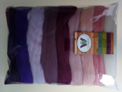 Orchid set* Wool Tops for Felting: White Pink Lilac Violet Heather 90g