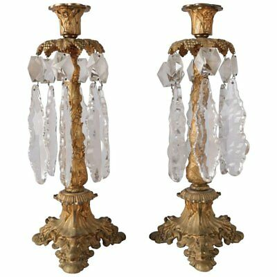 Italian Baroque Cornelius School Gilt Bronze & Crystal Candle Pair, circa 1840