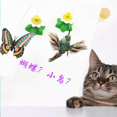 Electric Tease Cat Kitten Toys Rotating Butterfly Bird Rod Wire Pet Teaser Toy