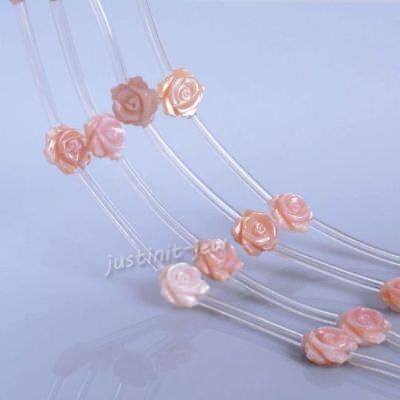 0486 10mm Mother of pearl MOP Pink shell rose flower loose beads 15pcs