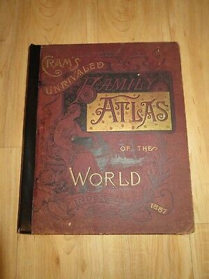 Crams Unrivaled Illustrated & Descriptive Family Atlas of the World Indexed 1887