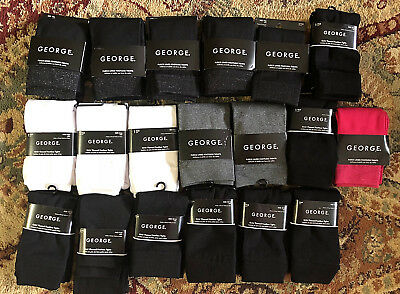 NEW Lot of 19 Pair George Fleeced Footless Tights Girls 4-6 14-16 Black Pink NWT