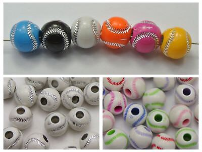 100 Sparkling Silver Baseball Pattern Acrylic Round Beads 12mm Funny Beads