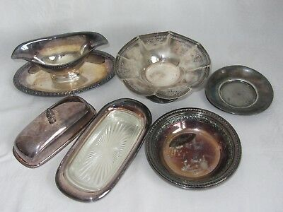 Asst Lot of Vtg Silverplate Serving Pieces Wm Rogers Sheffield Reed Barton