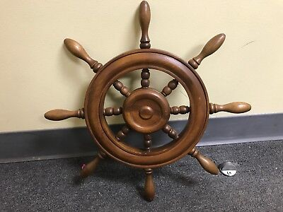 Vintage Decorative SHIP WHEEL Dark Wood MADE IN THE PHILIPPINES