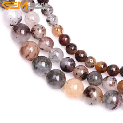 "Natural Round Mixed Color Lodolite Quartz DIY Beads Jewelry Making 15"" Wholesale"