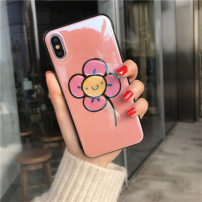 Girly Slim Cute Pink Flower Protective Phone Case Cover for iPhone X 8 7 Plus